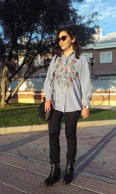 Look What I'm Wearing Today!!: Camisa Flores Bordadas Zaful