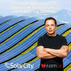 @ElonMusk and @SolarCity Unveil Worlds Most Efficient #SolarPanel.  @PeterDiamandis #ElonMusk #Solar #Tech #SolarCity  What it is: Elon Musk and SolarCity have introduced a new rooftop solar panel that achieves a peak efficiency of 22.04 percent -- making it the world's most efficient solar panel. The panels are the same size as traditional solar panels but produce 30 to 40 percent more power and with better performance in high temperatures. Next year SolarCity expects to produce as many as…