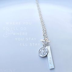 Personalized Every Step Bar and Compass Necklace by DesignedToShineAcc on Etsy