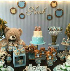 50 Ideas Baby Shower Boy Decoracion Teddy Bears For 2019 Baby Shower Cakes, Idee Baby Shower, Shower Bebe, Boy Baby Shower Themes, Baby Shower Parties, Baby Boy Shower, Baby Shower Gifts, Teddy Bear Party, Teddy Bear Birthday