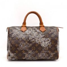 Pre-Owned Louis Vuitton Speedy 30 Monogram Dentelle Canvas City Hand... ($1,299) ❤ liked on Polyvore featuring bags, canvas zipper bag, zipper bag, canvas bag, preowned bags and hardware bag