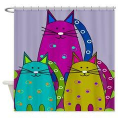 Whimsical Cats Shower Curtain > Cat Lovers II > Gail Gabel http://www.cafepress.com/gailgabel.1293305982 Sería genial algo así