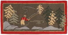 Vermont folk artist Laura Megroz has captured the serenity of the fly fisherman casting in the rushing river with her latest fishing rug. It would certainly be a hit in any fly fisherman's home. Desig