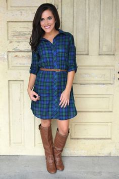 Dottie Couture Boutique - Green Plaid Tunic Dress, $46.00 (http://www.dottiecouture.com/green-plaid-tunic-dress/)