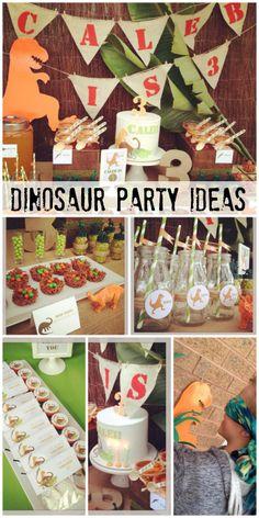 Fantastic dinosaur party ideas! See more party ideas at CatchMyParty.com. #boybirthday #birthdaycake #birthdaydecorations