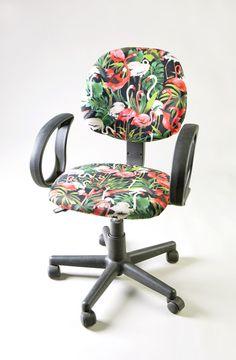 Artsy office chair with flamingos by Martin Oppel. Coastal Art: http://www.pinterest.com/complcoastal/coastal-art/