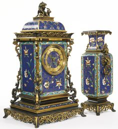 A CHINOISERIE GILT AND PATINATED BRONZE MOUNTED CLOISONNÉ ENAMEL THREE PIECE CLOCK GARNITURE FRANCE, LAST QUARTER 19TH CENTURY