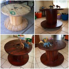 Cable spool table with castor wheels. Before & after