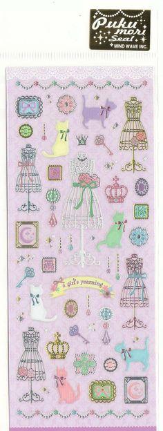 Kawaii Japan Sticker Sheet Assort:  Pukumori Cats and Fashion Items