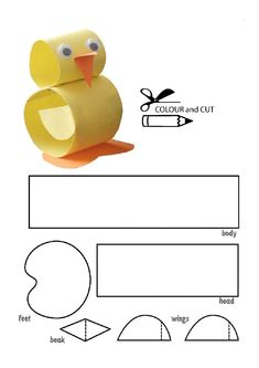 printables for kids Hand Crafts For Kids, Cute Kids Crafts, Craft Activities For Kids, Projects For Kids, Preschool Activities, Diy For Kids, Duck Crafts, Diy Ostern, Spring Crafts