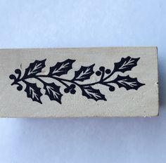 New- For Rubber Stamping and Handmade Cards Wood Mounted Rubber Stamp-- Holly by YourScrapbookingShop on Etsy