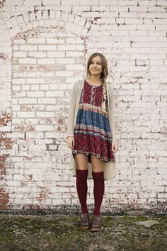 maroon over the knee Forever21 socks - brick red babydoll Frolic Vintage dress