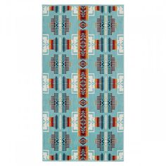 One of Pendleton Woolen Mills' oldest patterns, in honor of Nez Perce leader Chief Joseph, this pattern dates back to the The arrowhead design on this aqua towel collection symbolizes bravery, pointing in all directions of Mother Earth. Cotton Towels, Hand Towels, Chief Joseph, Soap Dispensers, Shopping World, How To Make Bed, Washing Clothes, Aqua, Downstairs Loo