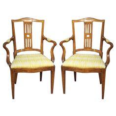 Pair Directoire Period Elm Arm Chairs, c. 1795 1