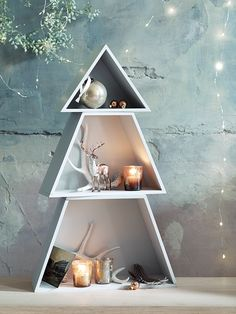 Fabulous frosted grey stackable Christmas tree shelves - perfect for creating your own display of Nordic decorations grey and white christmas inspiration Grey Christmas Tree, Christmas Tree Silhouette, Creative Christmas Trees, Decoration Christmas, Christmas Tree Design, Nordic Christmas, Noel Christmas, Holiday Tree, Xmas Tree