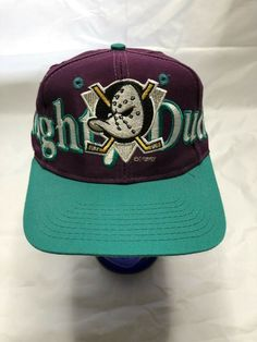 d5bc6183b9813 Mighty Ducks Hat Vintage 90s NHL Snapback Big Logo Hockey Spell Out  NHL.  Inkmaculate · Hats