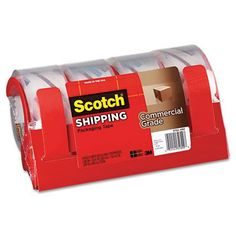 Scotch Commercial Grade Packaging Tape W/Dispenser, 1.88Inx54.6Yrds, Clear, 4/Pk