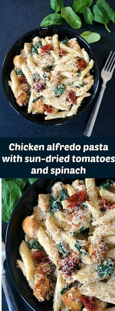 Chicken alfredo pasta with sun-dried tomatoes and spinach, an easy dish ready in just 30 minutes.