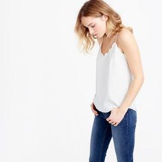 Shop J.Crew for the Petite scalloped Carrie cami for Women. Find the best selection of Women Shirts & Tops available in-stores and online. Thrift Store Refashion, Berlin Fashion, Vogue, Petite Outfits, Spring Summer Fashion, My Style, Lady, Fashion Tips, Clothes