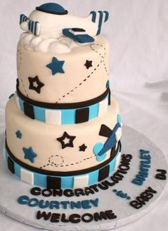 Baby shower Airplane  cake  #babyshower #planes