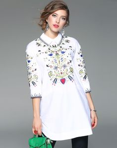 #AdoreWe #VIPme Blouses & Shirts - ZERACO White Floral Embroidered Lapel Blouse - AdoreWe.com