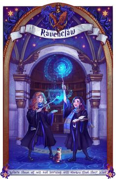 House of Ravenclaw by DreamerWhit ..... the last of the christmas drawings I did for this past holiday xD A gift for my amazing roommate! She educated me on all things Harry Potter and we both ended being Ravenclaws :P So this will hand up in our apartment to mark it as a Ravenclaw household! hehe... and that little kitty is her cat as well! also I tried a bit f a painty style with this one.. I wanted it to be more story book-ish! I need more practice though.. haha...