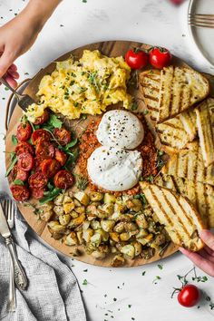 This elegant easy-to-make breakfast board is perfect for weekend brunch - spread it out and create your own adventure recipe forkinthekitchen vegetarian Fork in the Kitchen # Vegetarian Recipes, Cooking Recipes, Healthy Recipes, Recipes For Brunch, Dinner Recipes, Breakfast Platter, Breakfast Casserole, Easy To Make Breakfast, Party Food Platters
