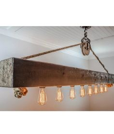 Rustic decor wood beam large chandelier with Edison lightbulbs, rope and pulley