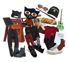 """""""Night in the Woods: Mae Borowski"""" by cartoonvillian ❤ liked on Polyvore featuring Enza Costa, CITYSHOP, Dr. Martens, Piel Leather, Emotionally Unavailable, Go Under, H&M, Boohoo, AG Adriano Goldschmied and Dorothy Perkins"""