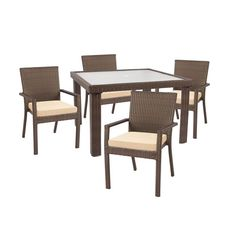 Hampton Bay Beverly 5-Piece Patio Dining Set with Beige Cushions-65-23355B at The Home Depot