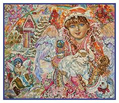 Angel with the Son of God and Lamb inspired by Yumi Sugai Counted Cross Stitch or Counted Needlepoint Pattern