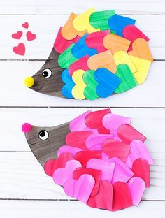 Just in time for Valentine's Day, kids of all ages will enjoy creating a darling heart hedgehog craft with paper hearts, paint, and pom poms. This easy kids craft includes a printable template, making it perfect for home or school. Valentine's Day Crafts For Kids, Valentine Crafts For Kids, Projects For Kids, Diy For Kids, Craft Projects, Craft Ideas, Valentine Decorations, Decorating Ideas, Kinder Valentines