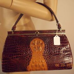 RARE VINT HORNBACK CROC ALLIGATOR KELLY PURSE HANDBAG TOTE IN EXCELLENT VINT CON in Clothing, Shoes & Accessories | eBay