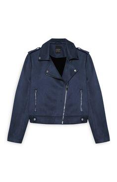 Primark - Navy Suede Biker Jacket
