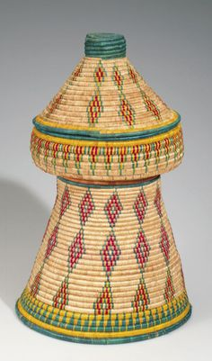 Africa   Basket food container and table from the Harrar District , Addis Ababa, Ethiopia   Plant Fiber   ca. 1974.