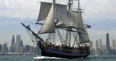 "A file photo taken on July 30, 2003 shows the ""HMS Bounty"" sailing past the Chicago skyline as the city of Chicago hosts the largest ""Tall Ship"" festival ever in the Great Lakes. The HMS Bounty crew abandoned the ship due to Hurricane Sandy, the US Coast Guard announced on October 29, 2012."