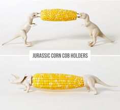 haha, awesme! best use of plastic animals i've seen yet - diy Jurassic corn cob holders