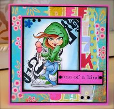 Synnøves Papirverksted: Youthful card in bright colours, Kenny K stamps, Copics, stamping, colouring, Basic Grey, handmade card,