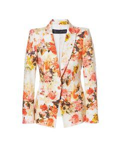 floral blazer, grounded in white Orange Blazer, Orange Jacket, Printed Bomber Jacket, Printed Blazer, Bomber Jackets, Print Jacket, Floral Blazer, Floral Jacket, Zara Jackets