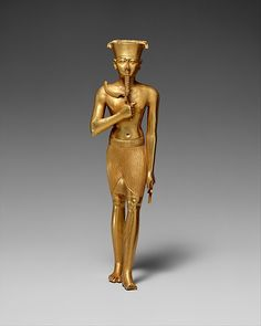 Statuette of Amun, ca. 945–712 B.C. Gold, h. 17.5 cm (6 7/8 in). This statuette, cast in solid gold, is an extremely rare example of the statuary made of precious materials that, according to ancient descriptions, filled the sanctuaries of temples. -Metropolitan Museum-