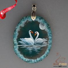 HAND PAINTED SWAN AGATE SLICE GEMSTONE NECKLACE PENDANT ZL8017688 #ZL #PENDANT
