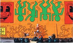 Keith Haring painting the Houston/Bowery Wall in 1982