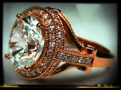 Pink Gold Oval Diamond vintage Legacy Style Engagement Ring