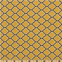 Excited to see Carters nursery coming together  Aviary 2 Lodge Lattice Vintage Yellow - Discount Designer Fabric - Fabric.com