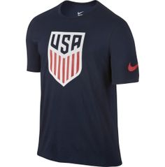 Cheer for USA as they fight for victory and rock your colors in the Nike® Men's USA Crest Tee.