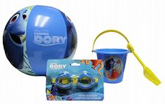 Disney Pixar Finding Dory Beach Toys Sand Bucket 5 deep and Shovel 75 long 125 Inflatable Ball and SwimmingSplash Goggles for Kids >>> See this great product.