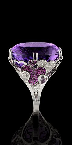 OMG THIS IS AWESOME! 74.67 ct. Amethyst, Diamonds, Pink Sapphires in18ct White Gold Ring - Master Exclusive Solo Jewellery Collection