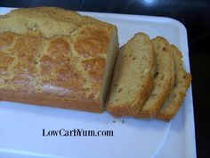 A sweet low carb peanut flour bread that is high in protein and great for snacking. This gluten free bread is delicious with a sugar free chocolate spread.