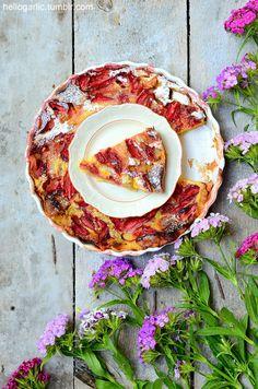 hello rhubarb-strawberry clafoutis!photo and styling by Panka Milutinovits