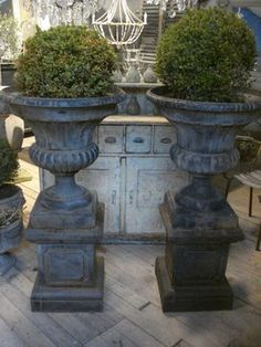 gorgeous urns and boxwood